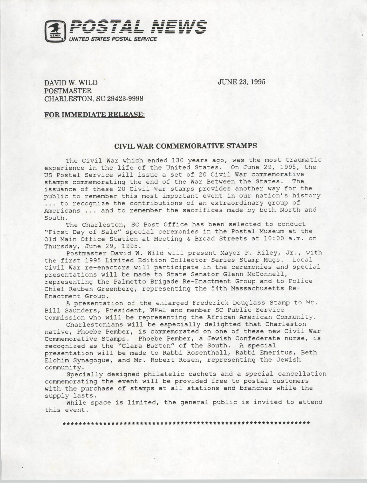 United States Postal Service, Postal News, Civil War Commemorative Stamps, June 23, 1995