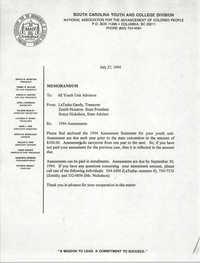 Memorandum, LaTasha Gandy et al., 1994 Assessment Statement, NAACP Youth Council, July 27, 1994