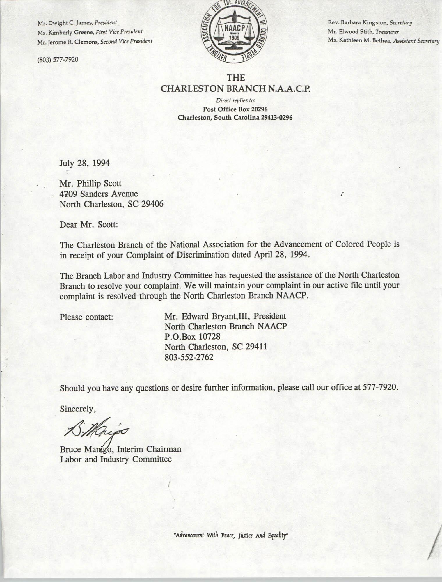Letter from Bruce Manigo to Phillip Scott, July 28, 1994