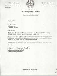 Letter from Bruce Manigo to Derrick Lee, July 27, 1994