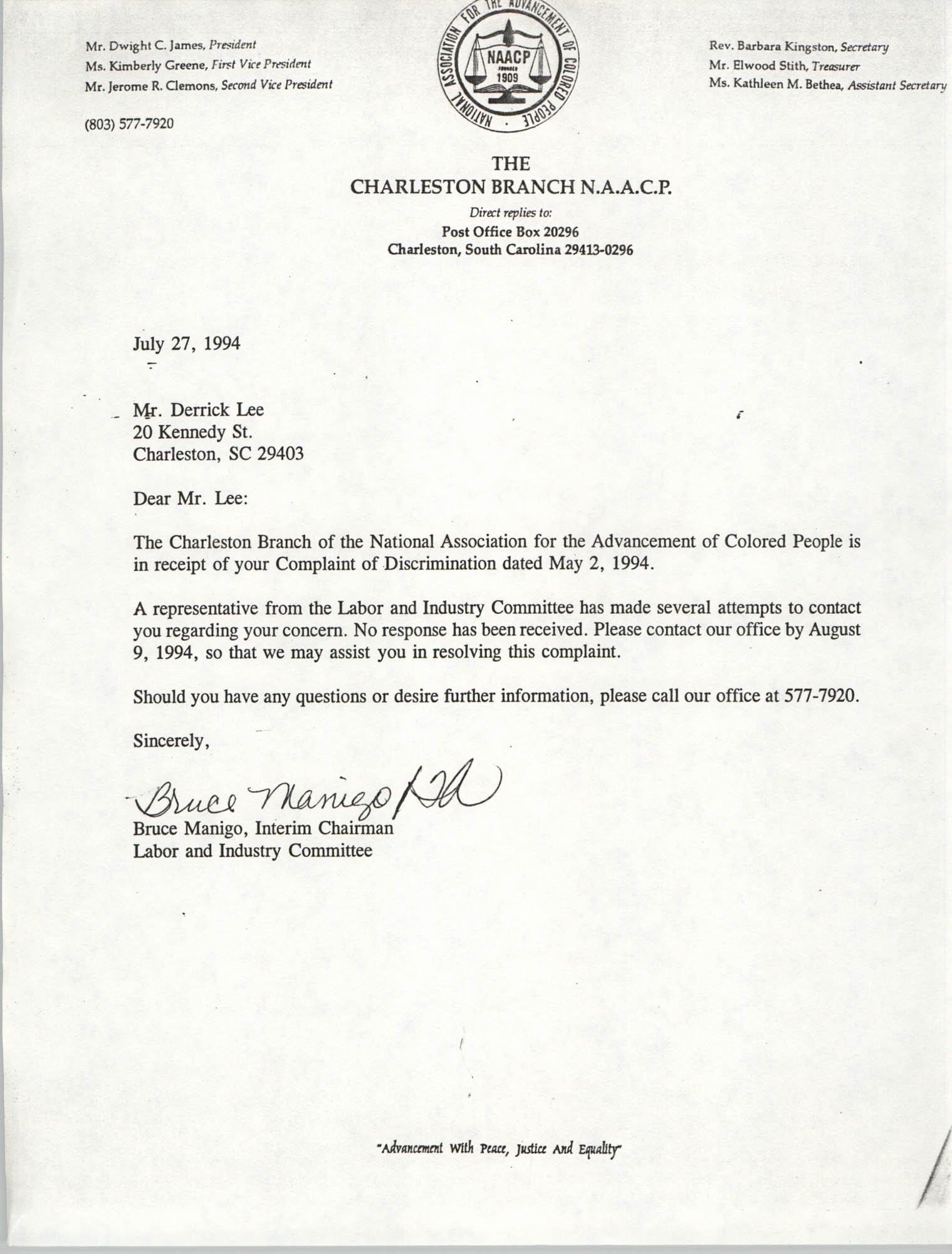 Letter from Bruce Manigo to Derrick Lee, July 27, 1994
