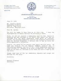Letter from Barbara Kingston to Isazetta Spikes, June 13, 1994