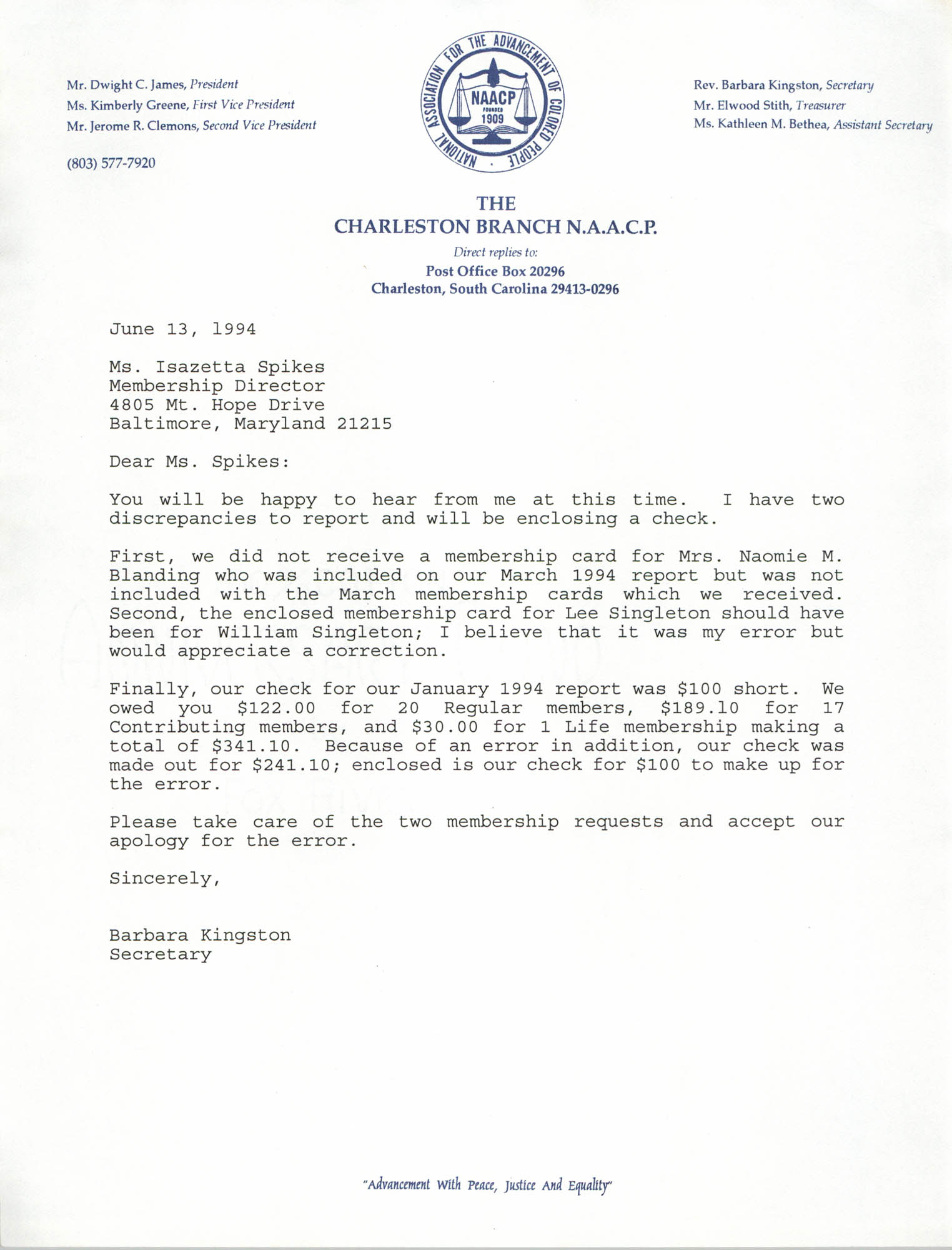 Letter from Barbara Kingston to Isazetta Spikes, June 13, 1994