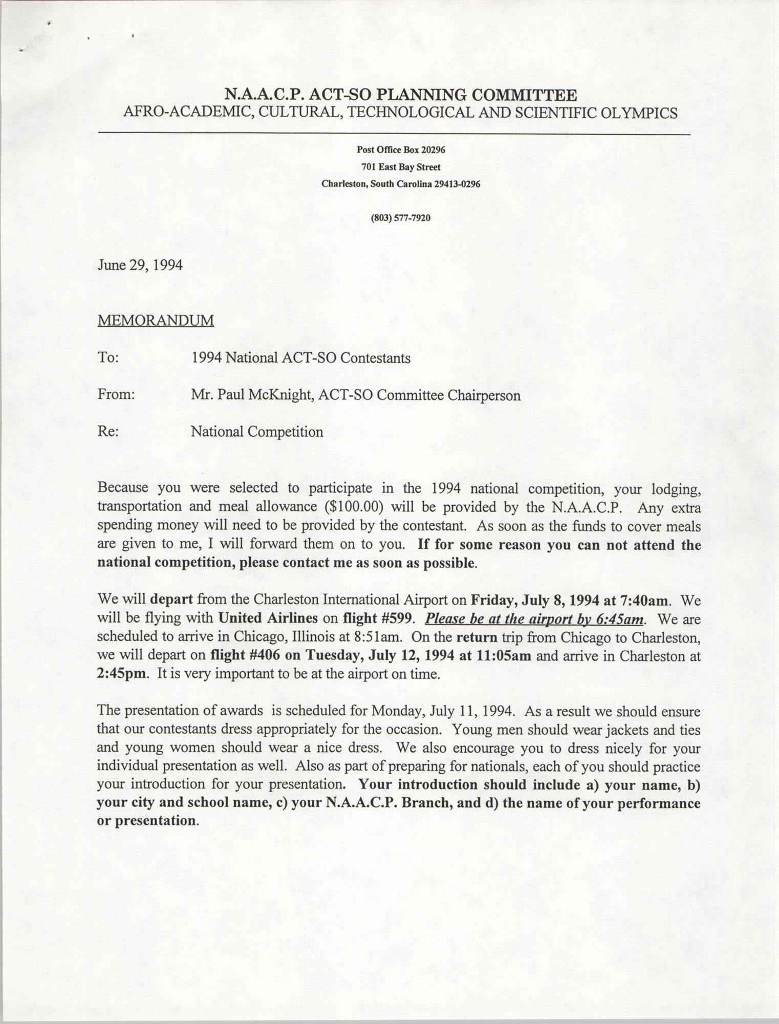 Memorandum, Paul McKnight, June 29, 1994