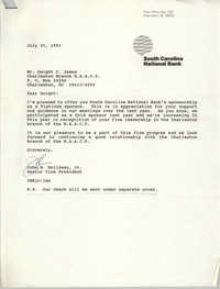 Letter from John B. Holloway, Jr. to Dwight C. James, July 25, 1991