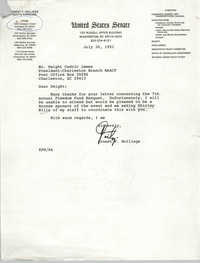 Letter from Ernest F. Hollings to Dwight C. James, July 30, 1991