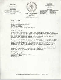 Letter from Dwight C. James to Ed Fortier, July 22, 1991