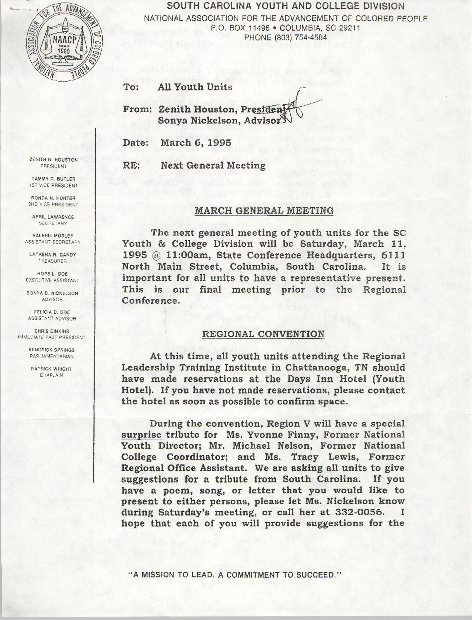 Memorandum, Zenith Houston, March 6, 1995