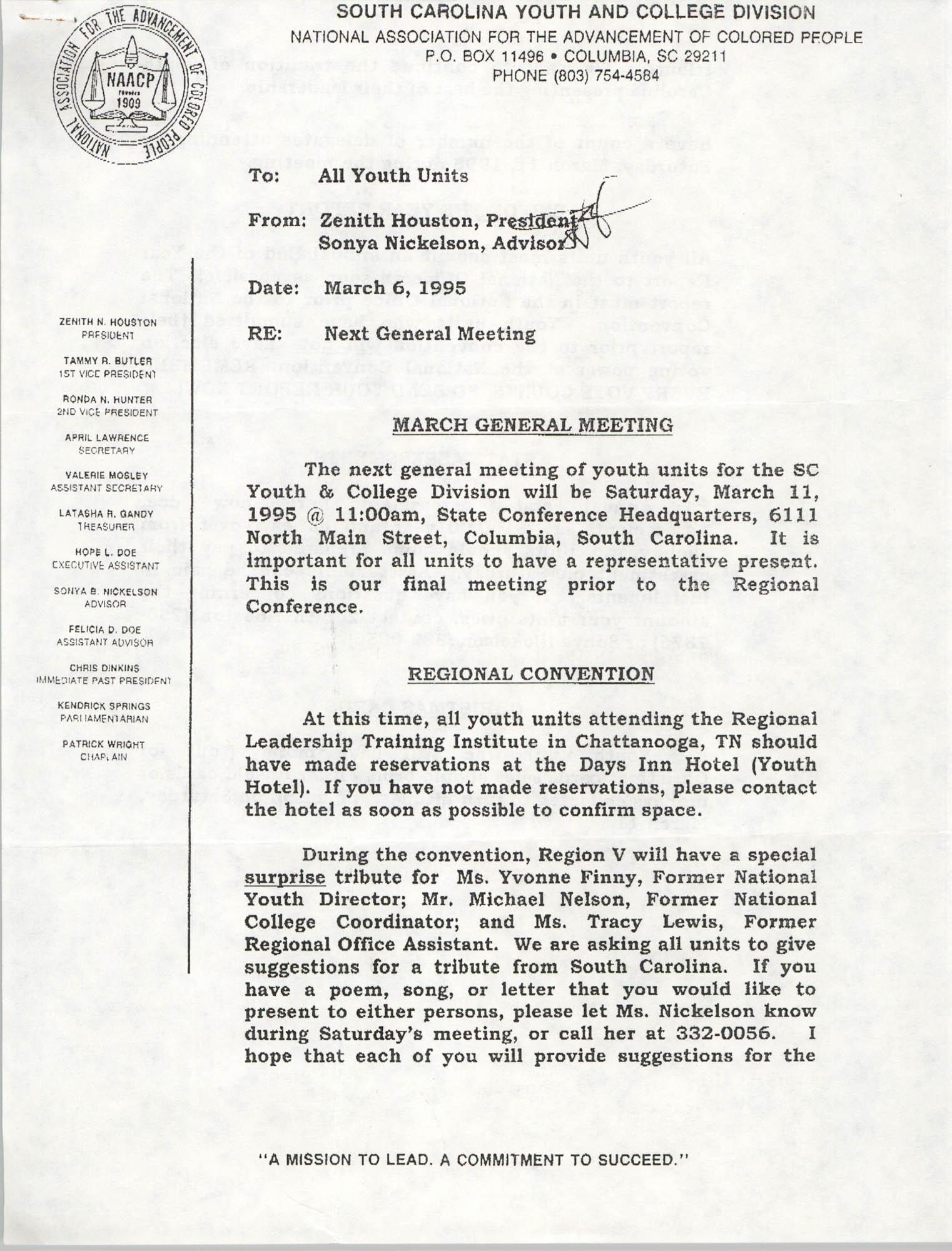 Memorandum, Zenith Houston, March 6, 1995