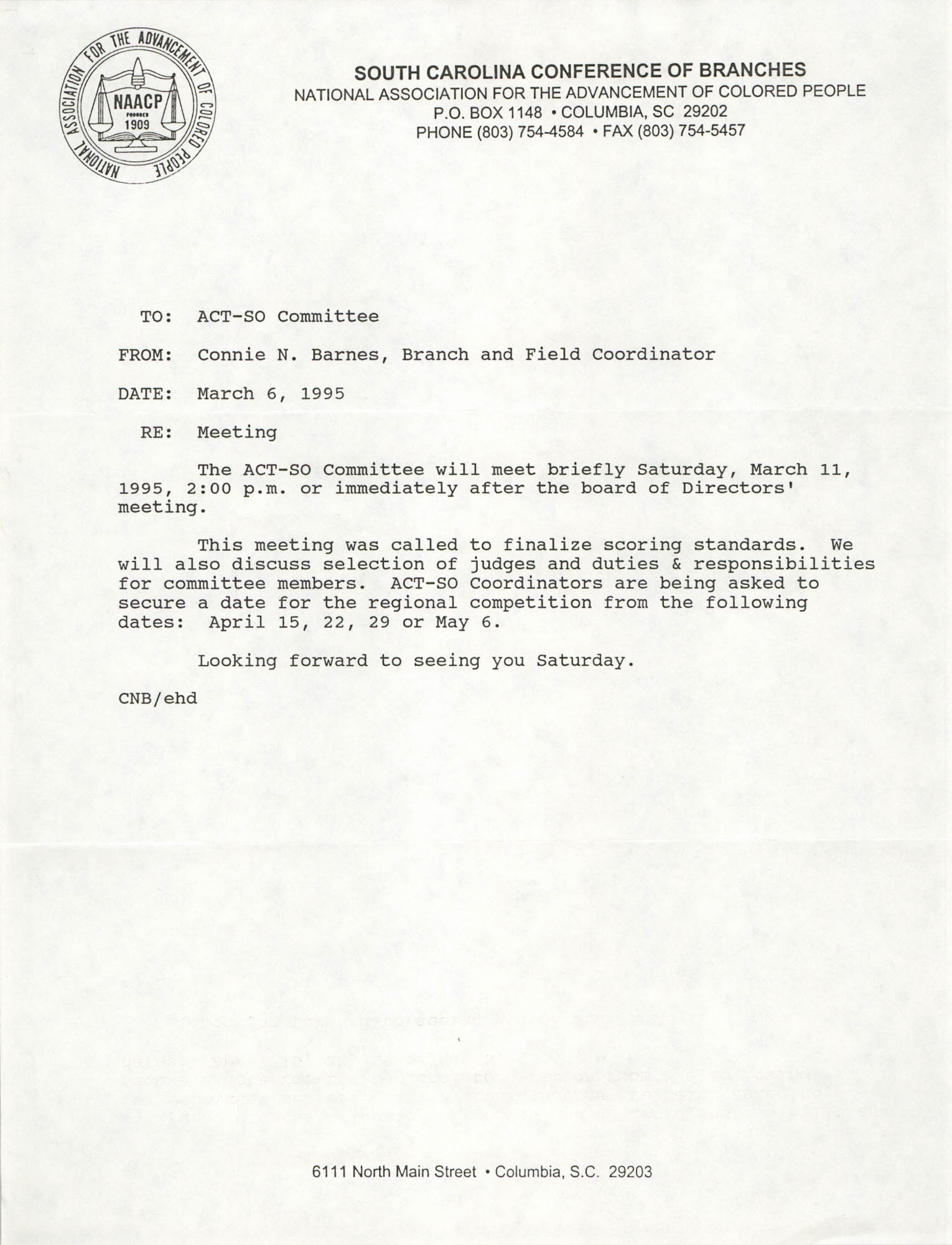 Memorandum, Connie N. Barnes, March 6, 1995