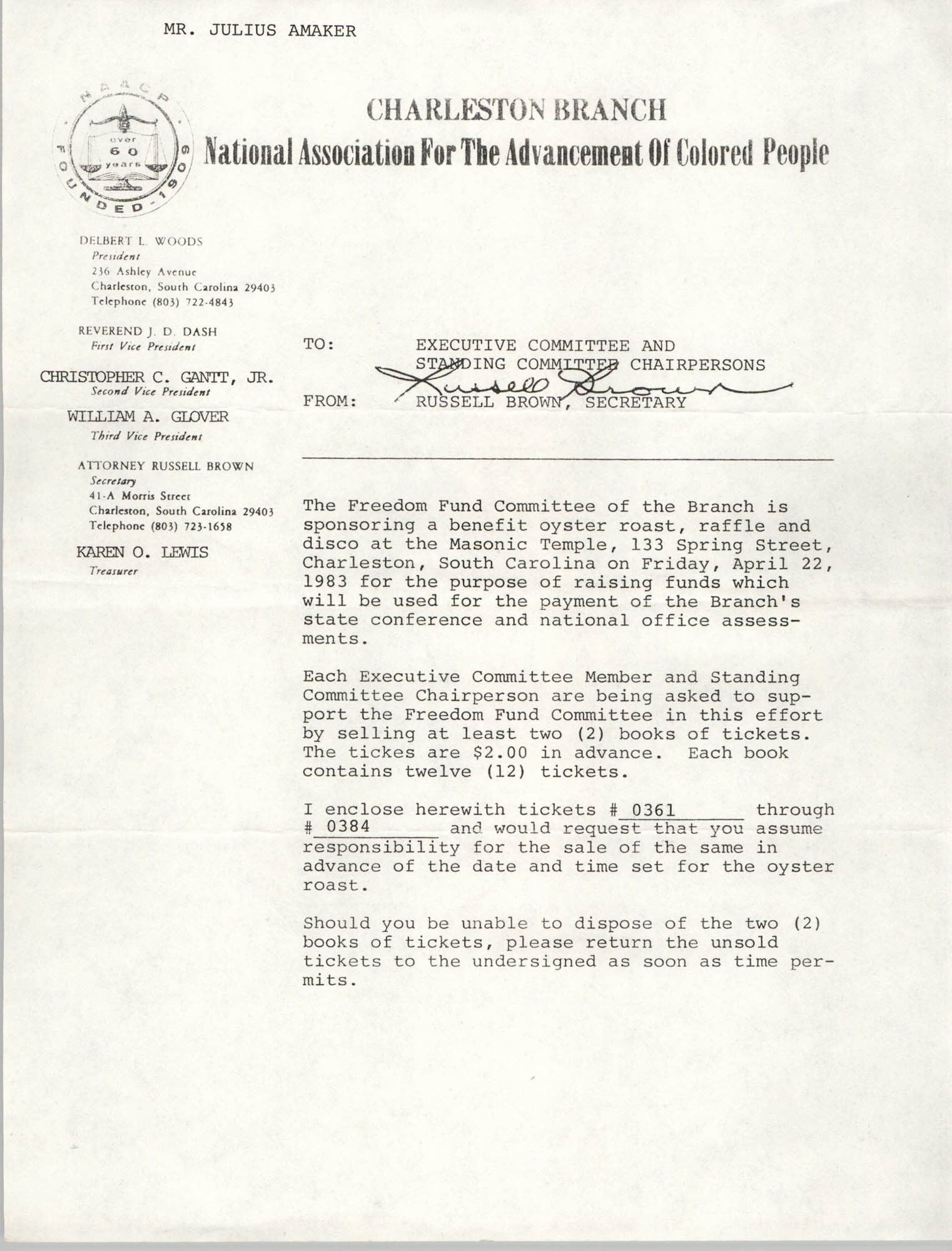 Memorandum, Russell Brown, Charleston Branch of the NAACP