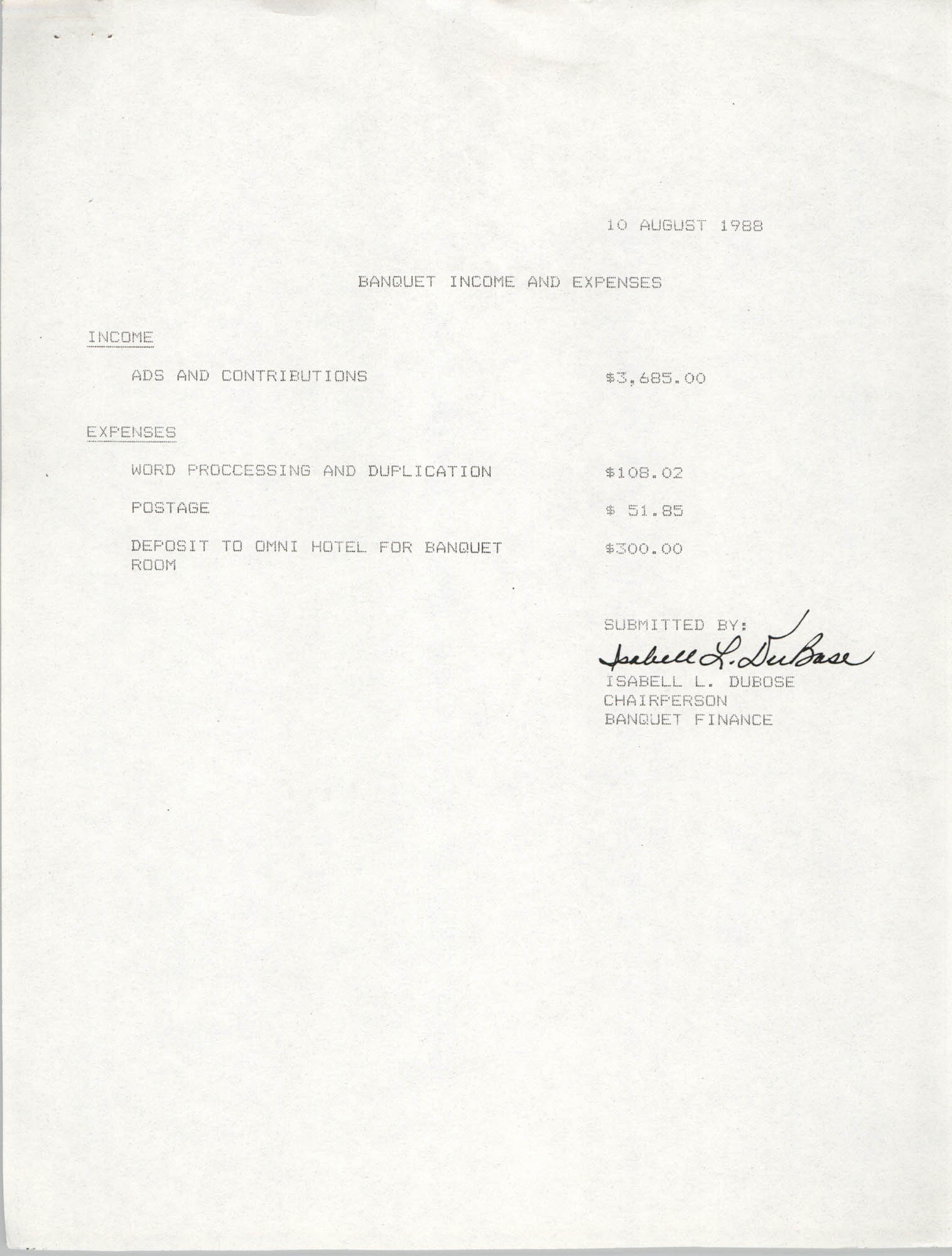 Banquet Income and Expenses,  Isabell L. DuBose, August 10, 1988