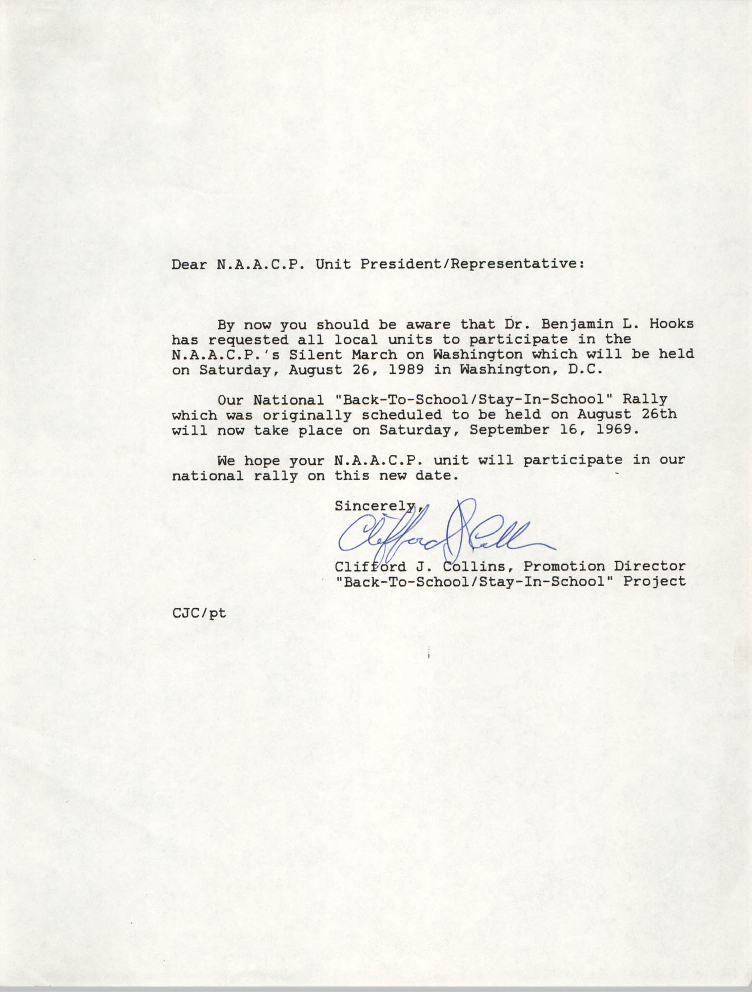 Letter from Clifford J. Collins to NAACP Unit President/Representatives