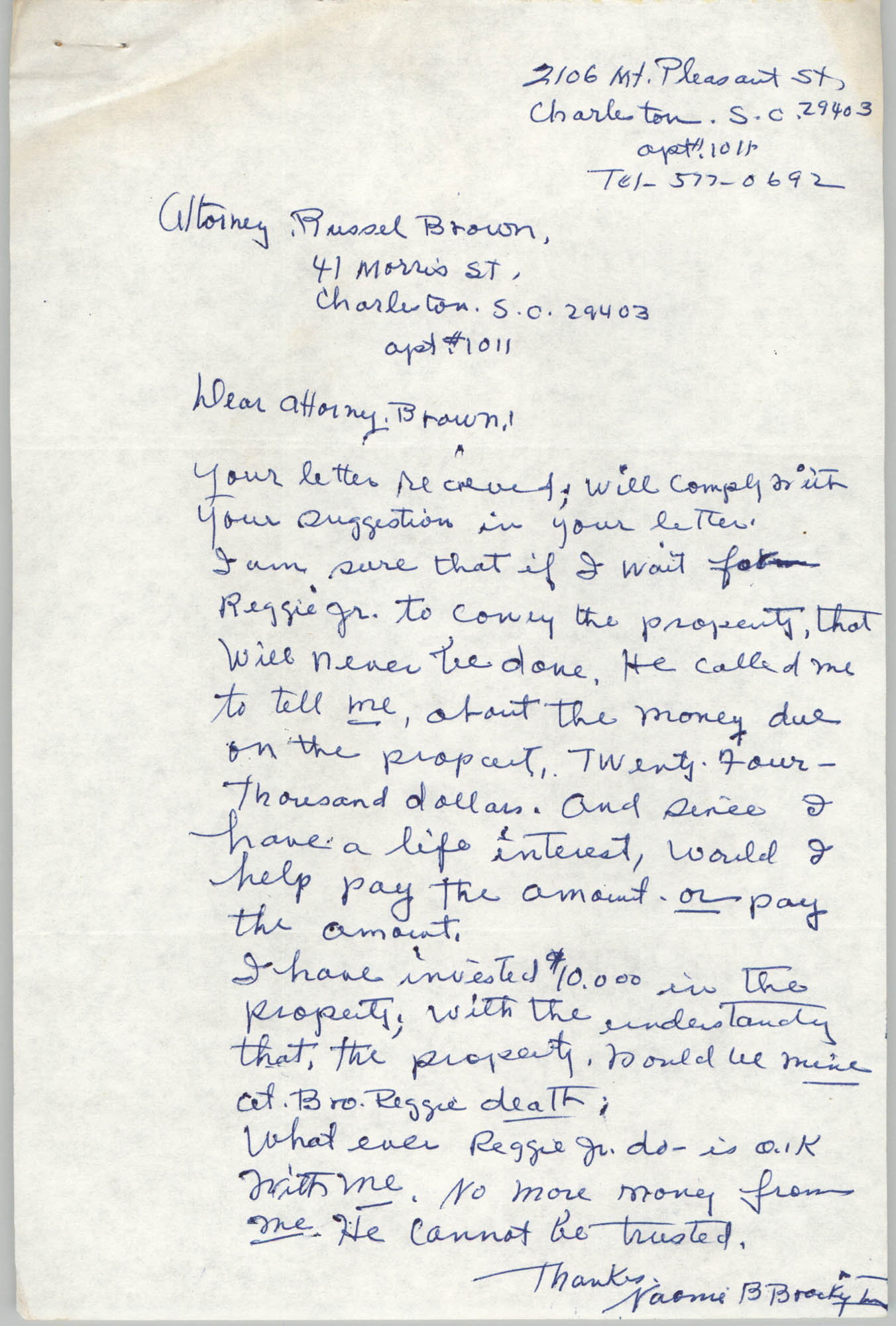 Letter from Naomi Barrett Brockington to Russell Brown