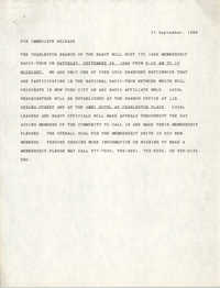 Immediate Release Notice, 1988 Membership Radio-thon, National Association for the Advancement of Colored People, September 21, 1988