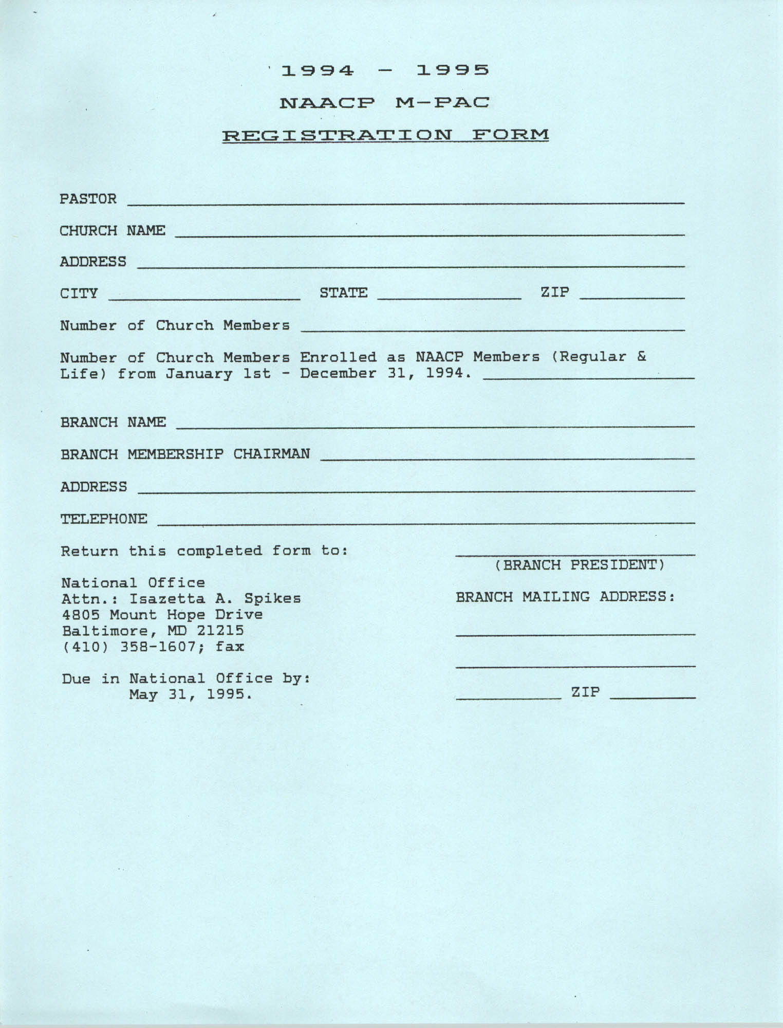NAACP M-PAC Registration Form