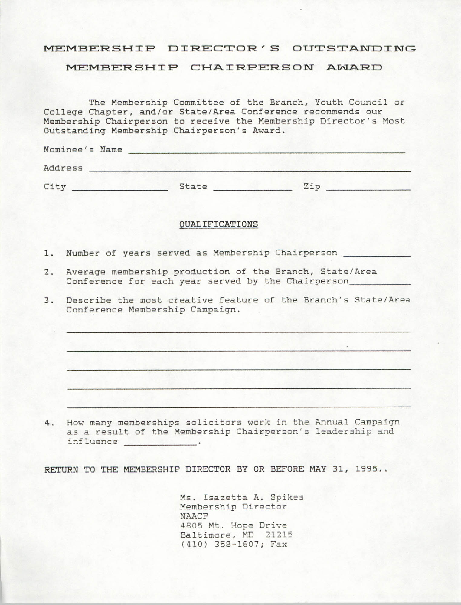 NAACP Membership Director's Outstanding Membership Chairperson Award  Form