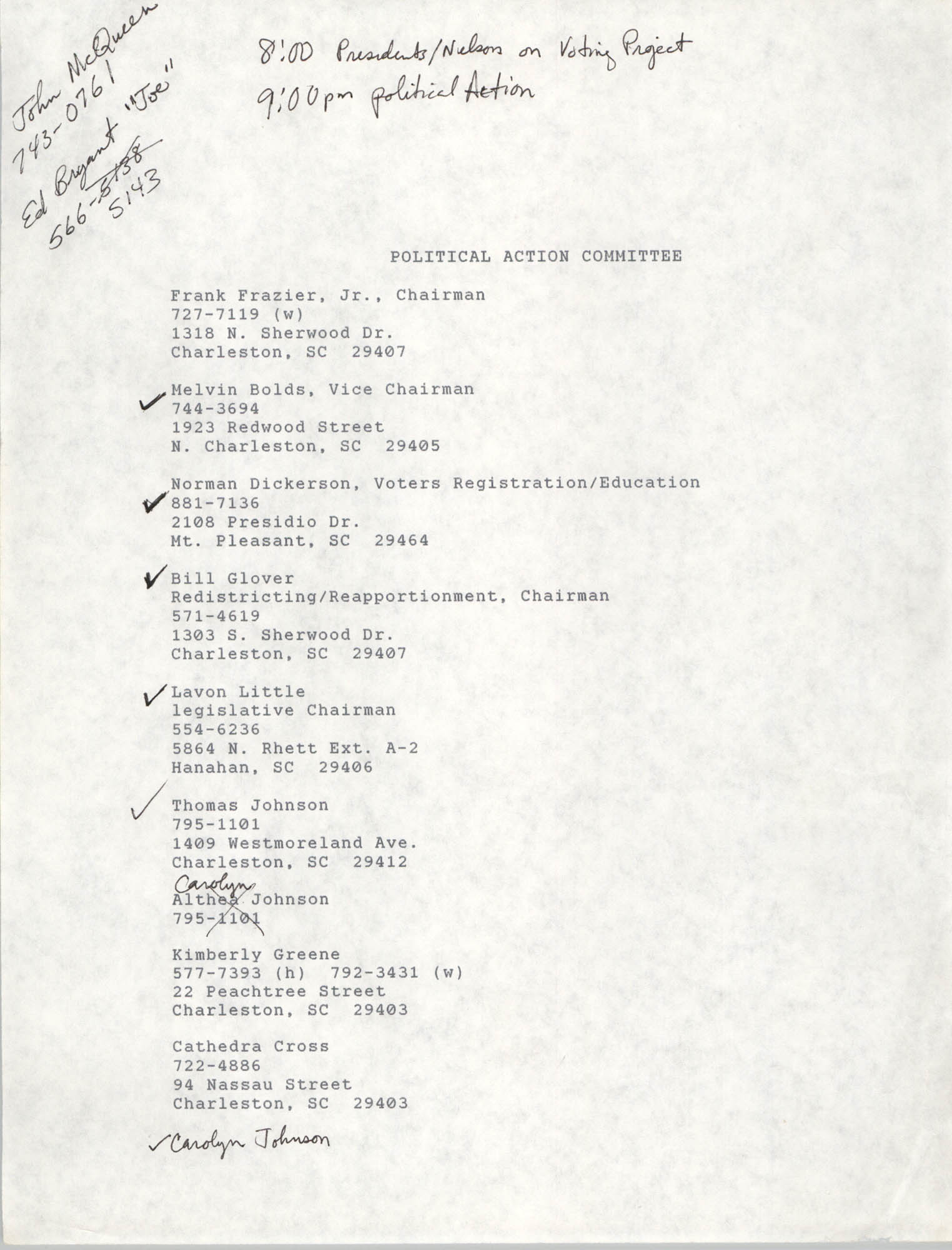 List of Members, Political Action Committee, Charleston Branch of  the NAACP