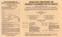 Bench-Bar Conference on Advocacy in Administrative Courts, Continuing Education Seminar Pamphlet, January 11, 1985