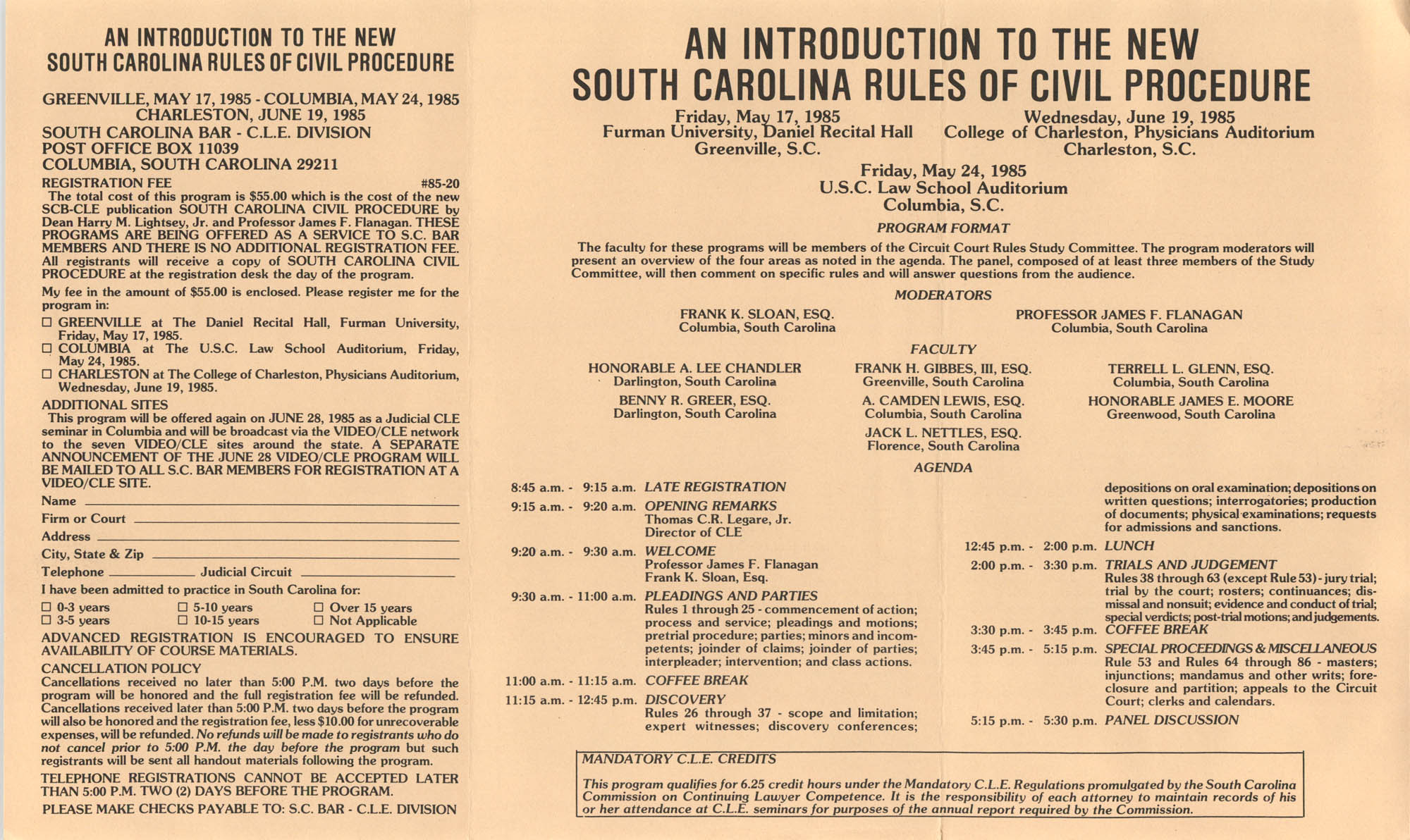 An Introduction to the New South Carolina Rules of Civil Procedure, Continuing Legal Education Seminar Pamphlet, 1985