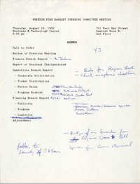 Agenda, Freedom Fund Banquet Steering Committee Meeting, August 18, 1988