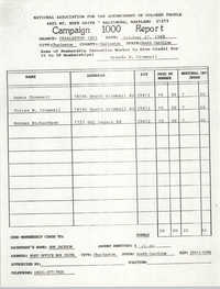Campaign 1000 Report, Brenda H. Cromwell, Charleston Branch of the NAACP, October 27, 1988