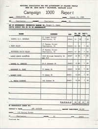 Campaign 1000 Report, Dwight C. James, Charleston Branch of the NAACP, August 12, 1988