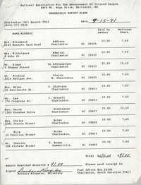 Membership Report Blank, Charleston Branch of the NAACP, Barbara Kingston, September 15, 1991