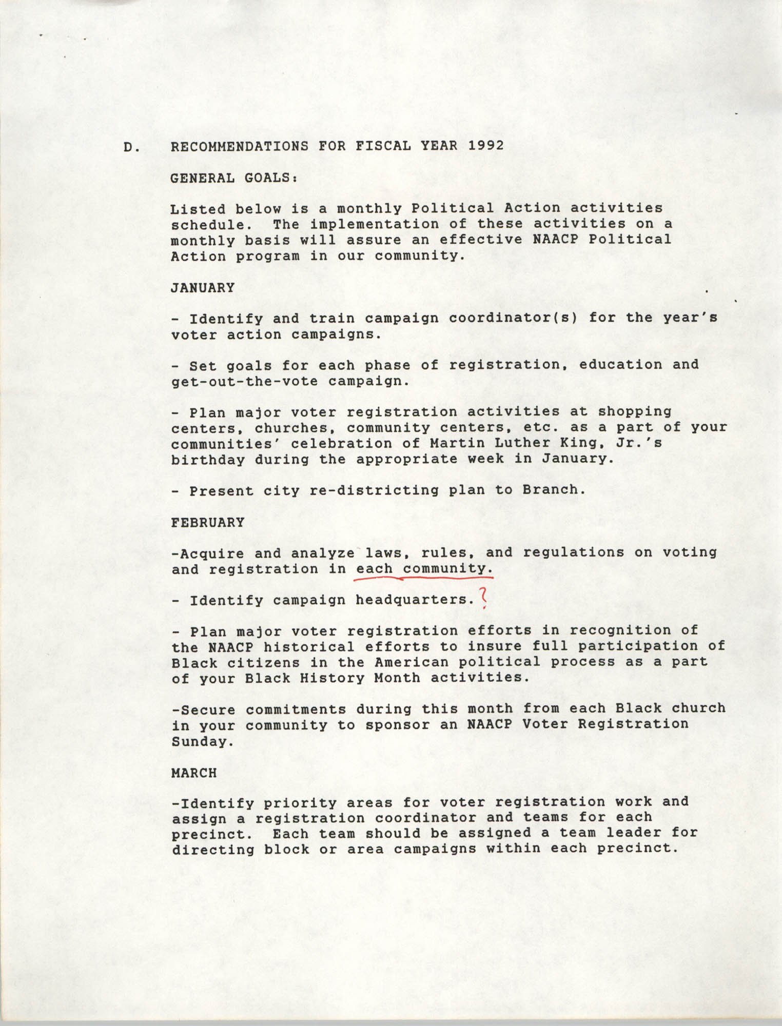 Recommendations for Fiscal Year 1992, Political Action Committee, NAACP