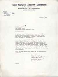 Letter from Virginia C. Prouty to Coming Street Y.W.C.A. Branch Executive, July 31, 1967