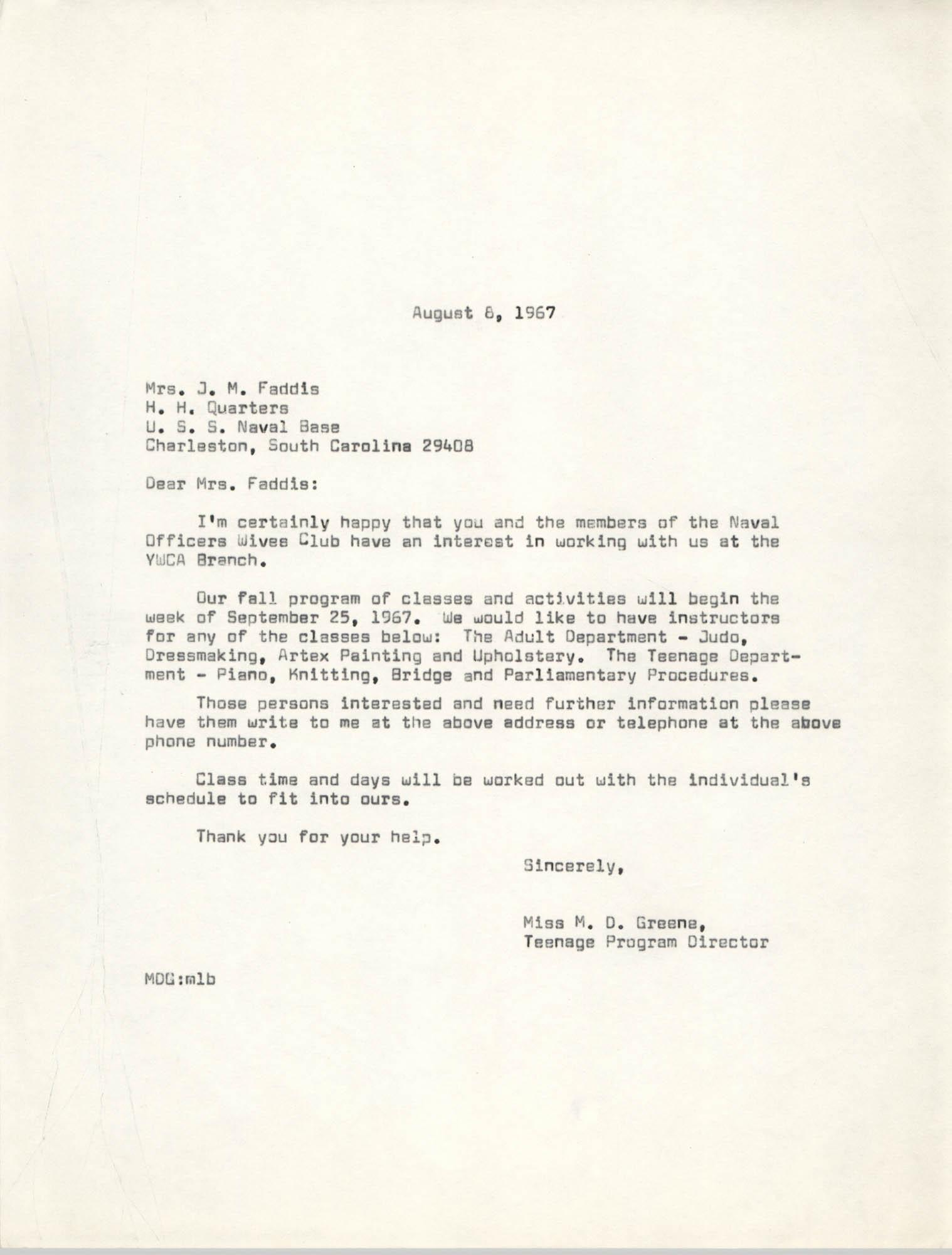 Letter from Marguerite D. Greene to Mrs. J. M. Faddis, August 8, 1967