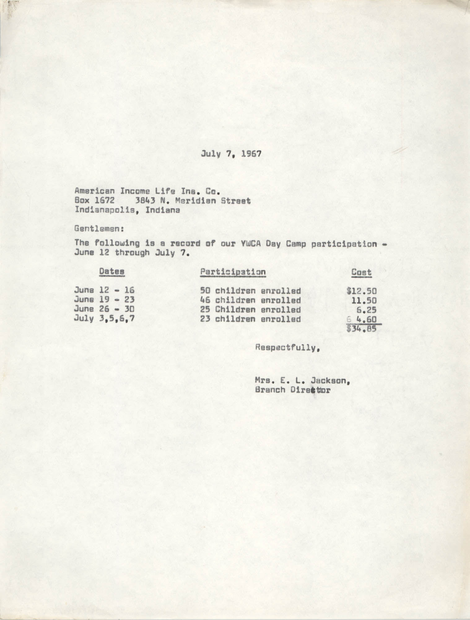 Letter from Christine O. Jackson to American Income Life Insurance Company, July 7, 1967