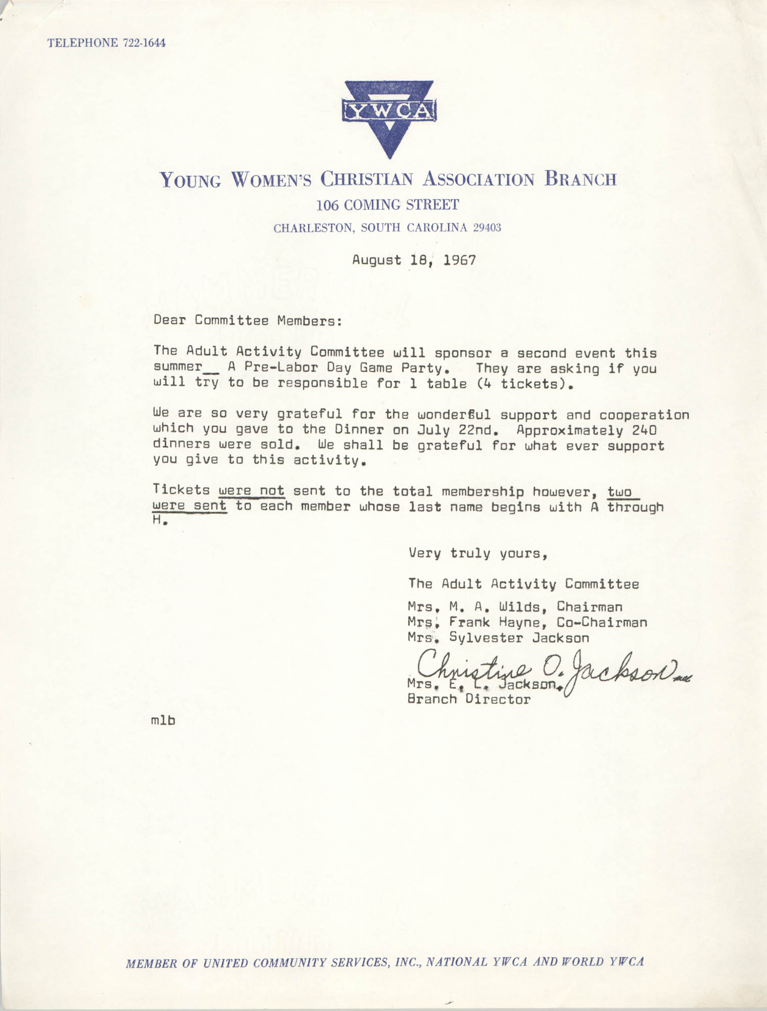 Letter from Christine O. Jackson to Coming Street Y.W.C.A. Committee Members, August 18, 1967