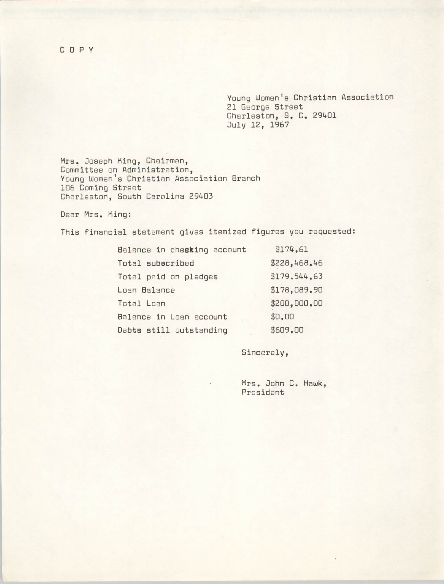 Letter from John C. Hawk to Joseph King, July 12, 1967