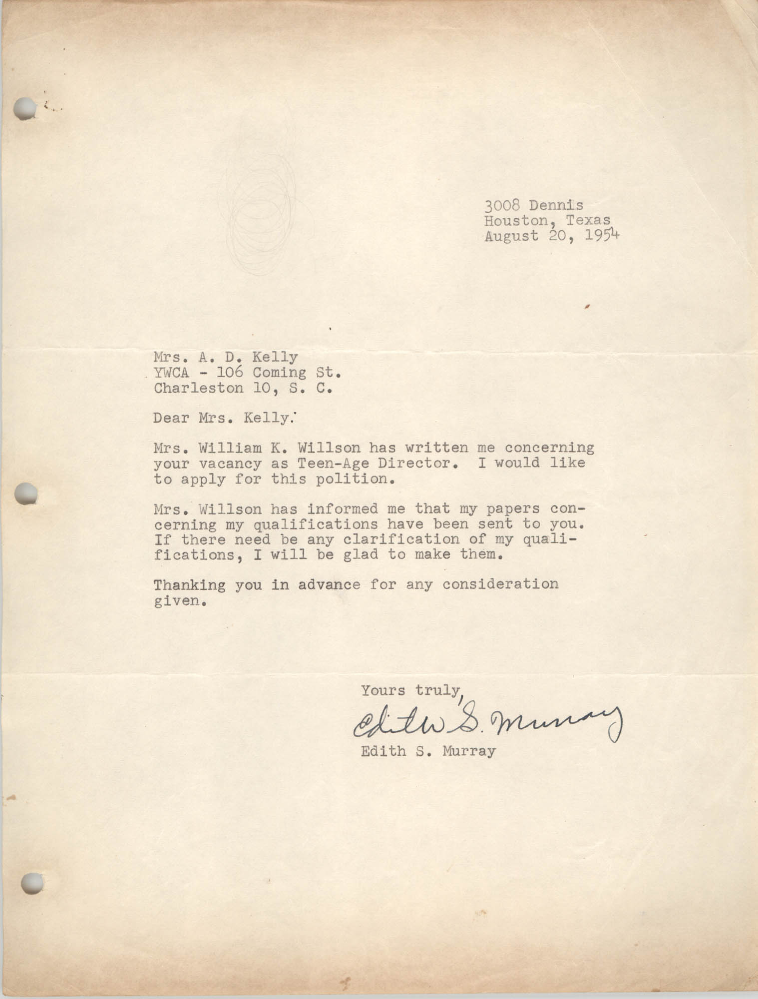 Letter from Edith S. Murray to A. D. Kelly, August 20, 1954