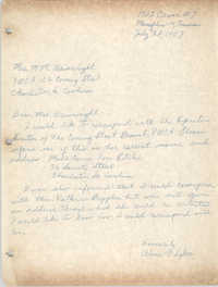 Letter from Aline V. Sykes to M. M. Wainwright, July 28, 1957