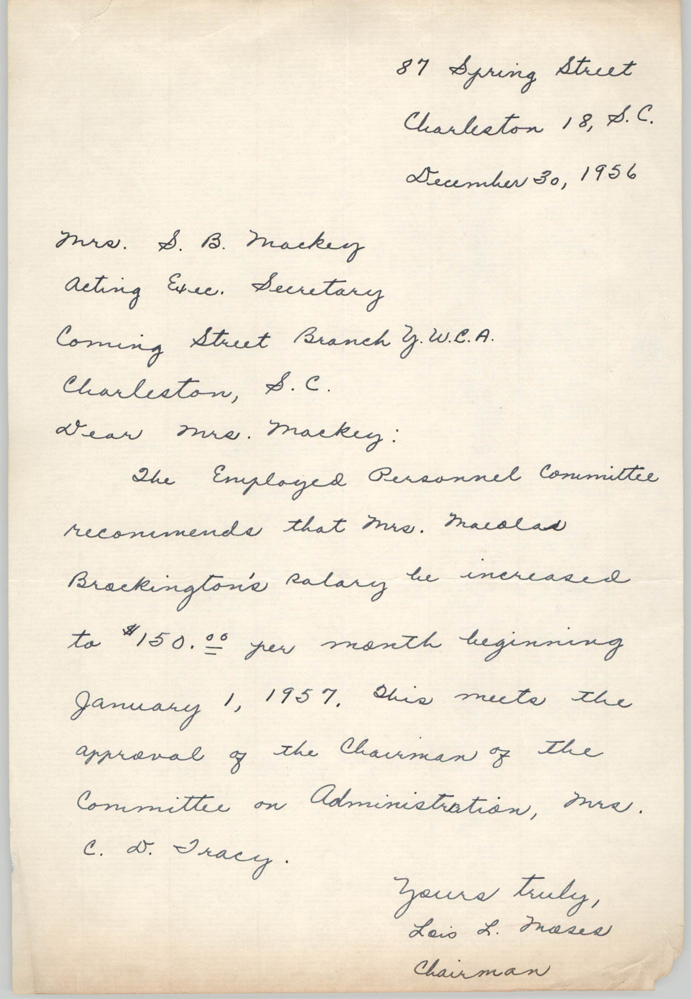 Letter from Lois L. Moses to S. B. Mackey, December 30, 1956