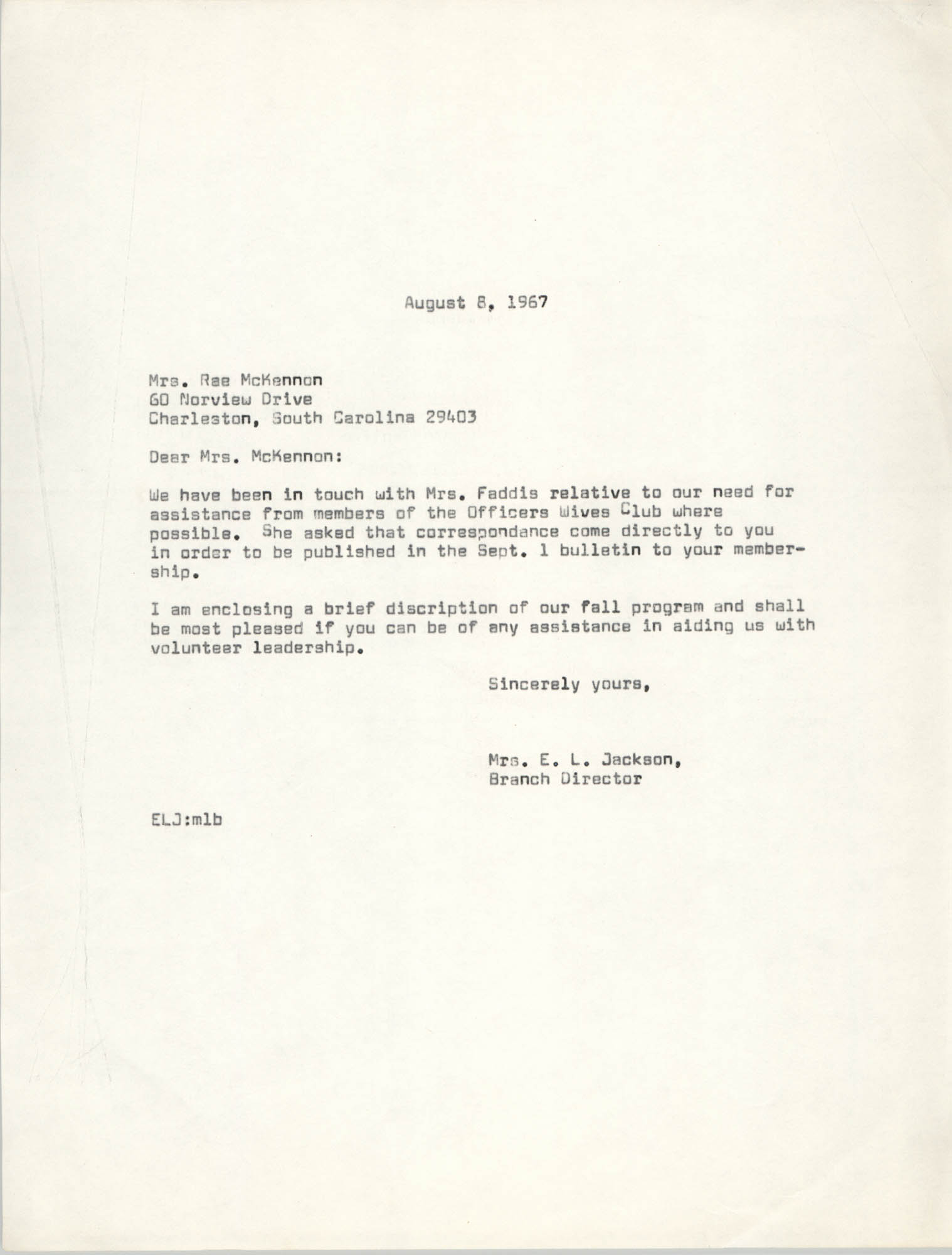 Letter from Christine O. Jackson to Mrs. Rae McKennon, August 8, 1967