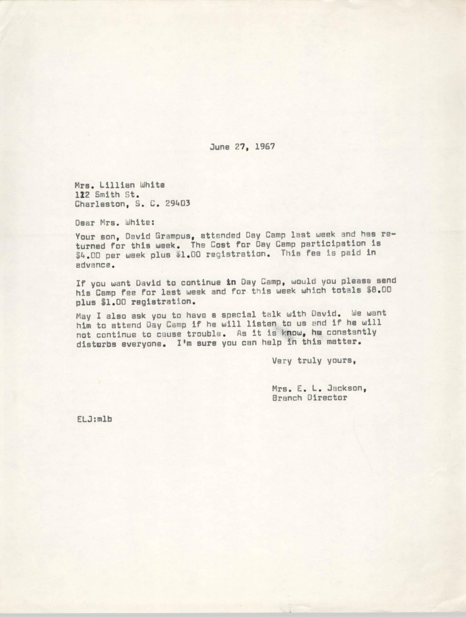 Letter from Christine O. Jackson to Lillian White, June 27, 1967