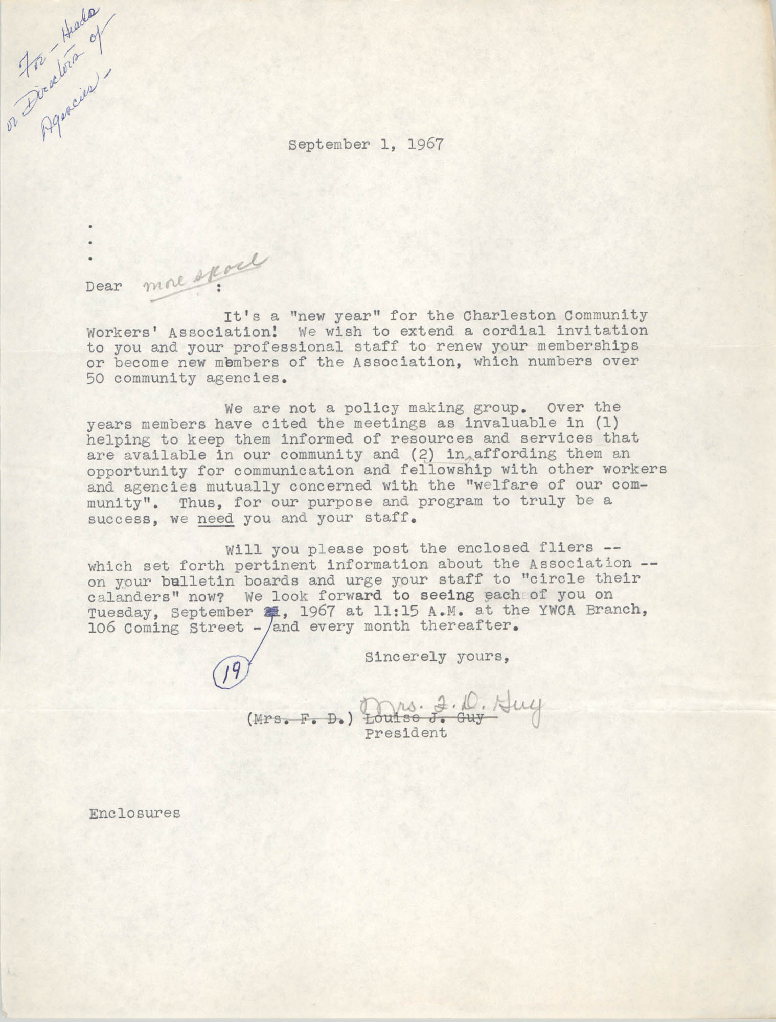 Letter from Louise J. Guy, September 1, 1967