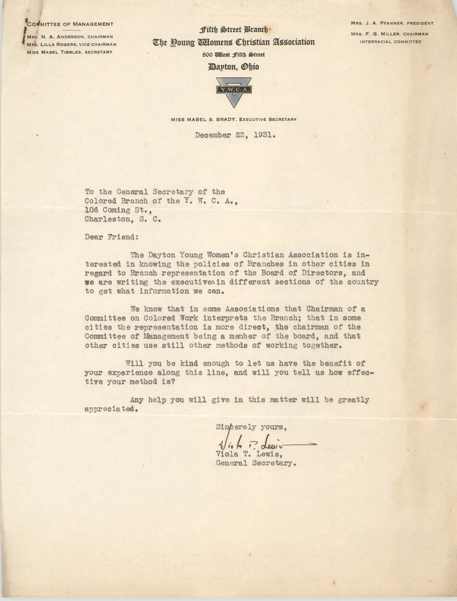 Letter from Viola T. Lewis to General Secretary for Coming Street Y.W.C.A., December 22, 1931