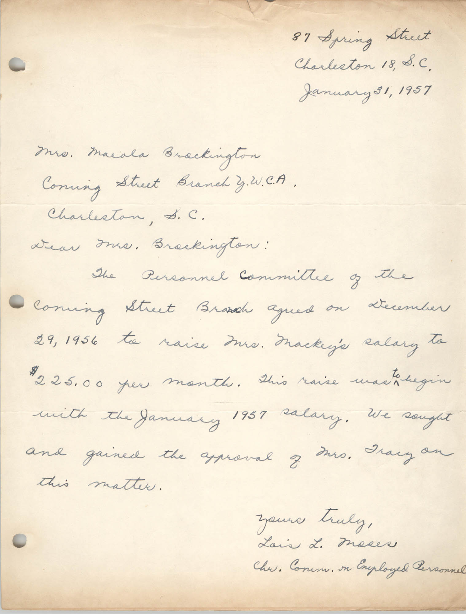 Letter from Lois L. Moses to Maeola Brockington, January 31, 1957