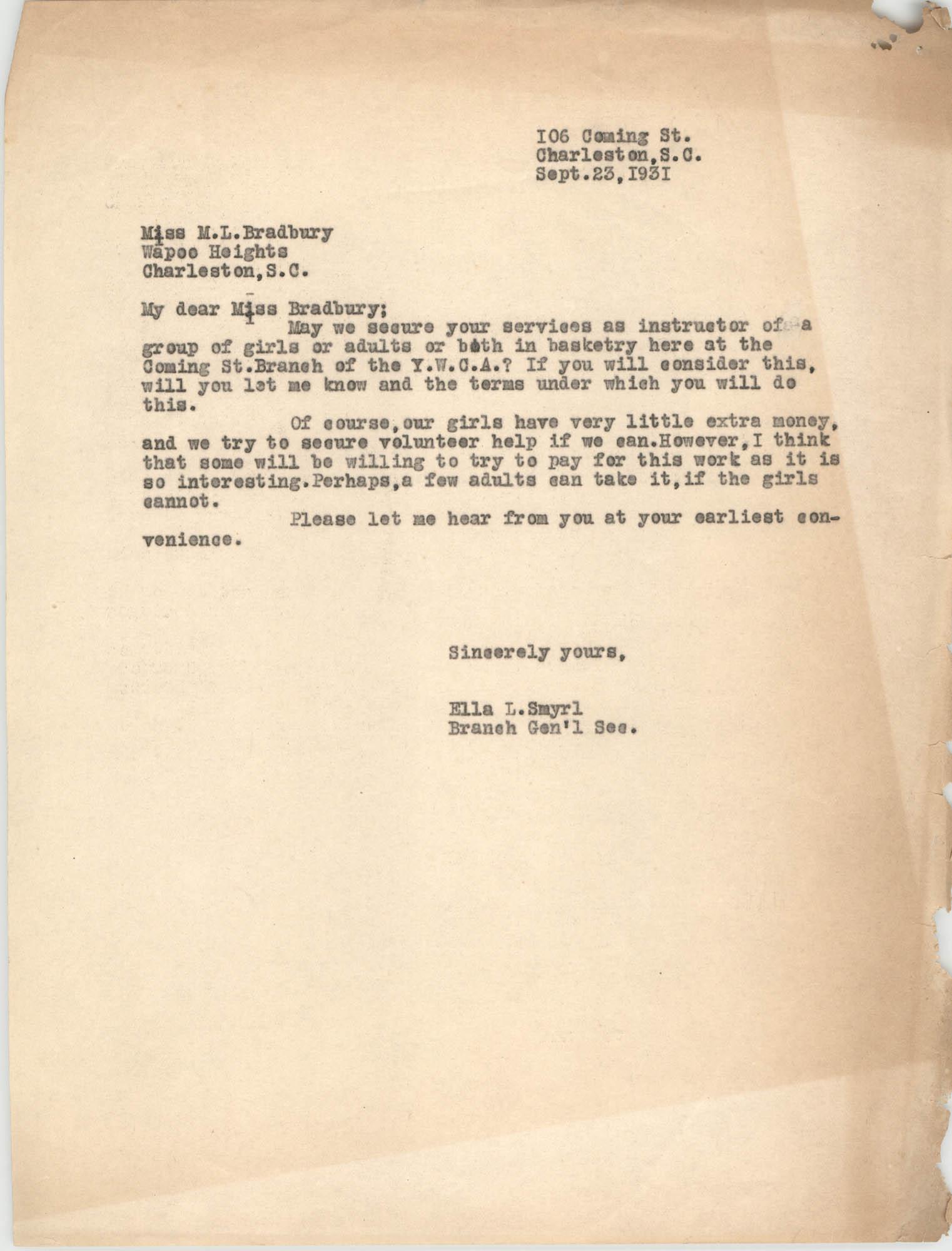 Letter from Ella L. Smyrl to M. L. Bradbury, September 23, 1931