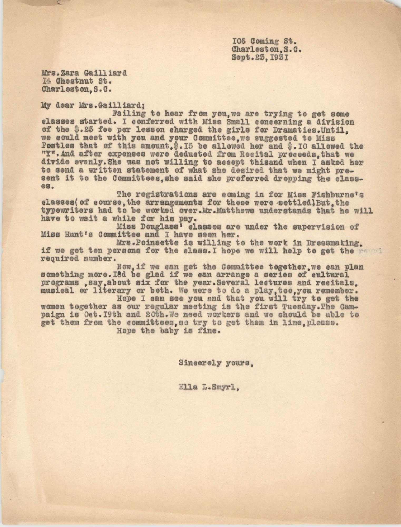 Letter from Ella L. Smyrl to Zara Gailliard, September 23, 1931