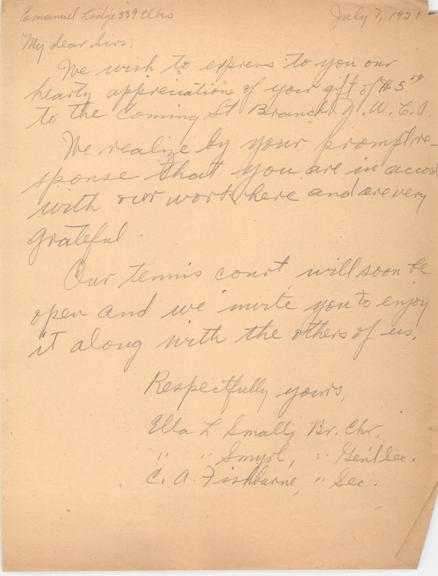 Letter from Ella L. Smyrl and C. A. Fishburne, July 7, 1931