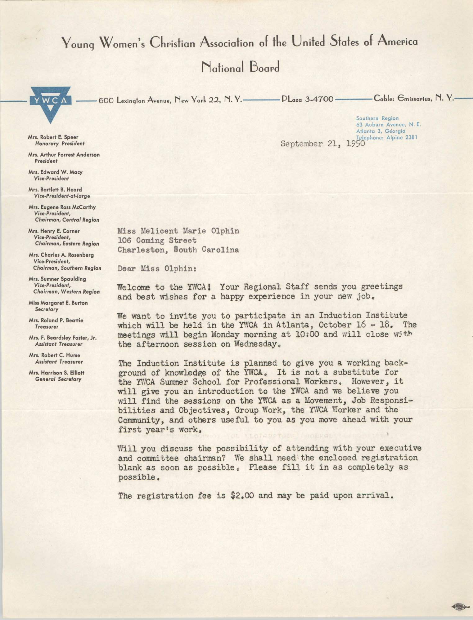 Letter from Mary Jane Willett to Melicent Marie Olphin, September 21, 1950