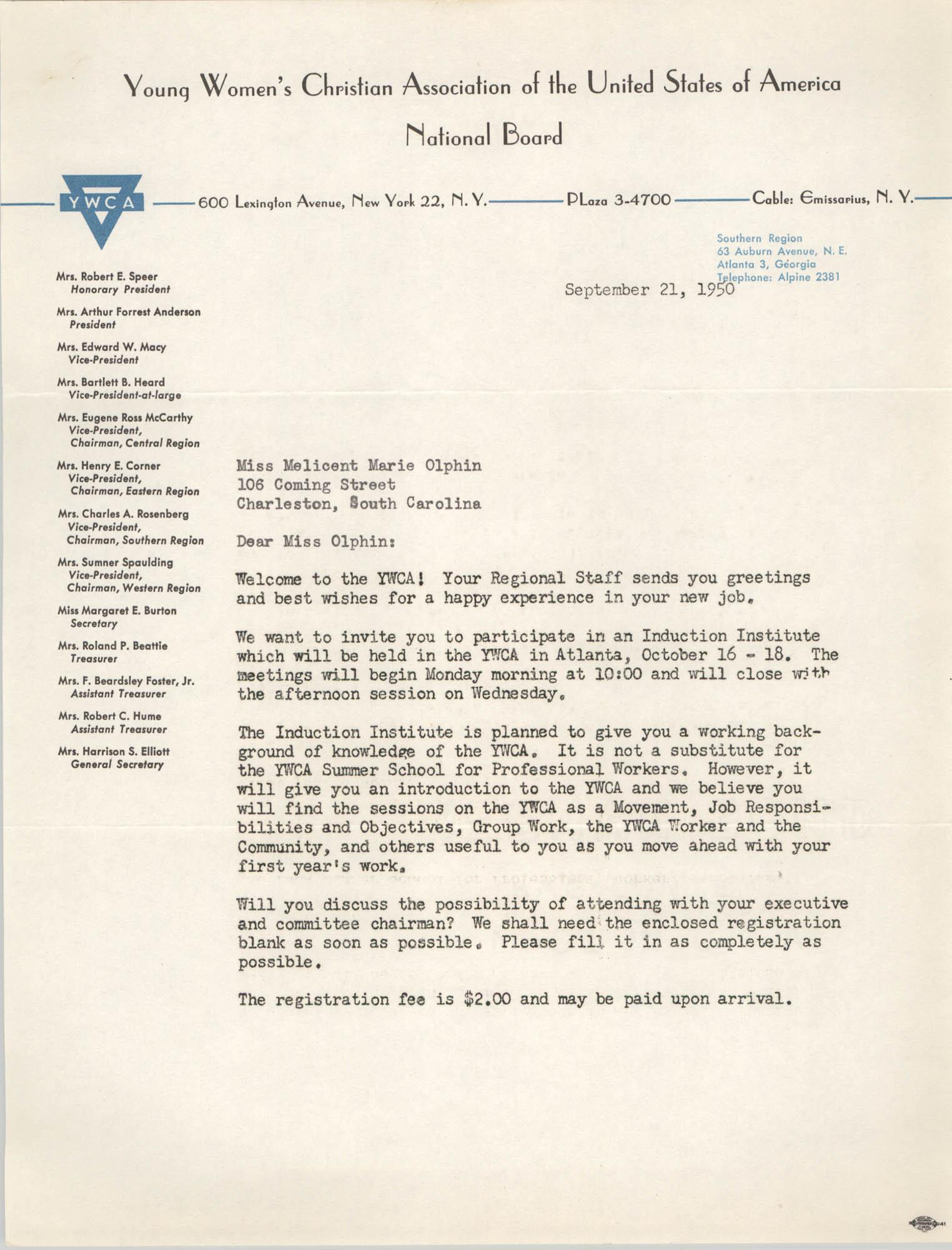 Letter from Mary Jane Willett to Melicent Marie Olphin, September 21, 1950