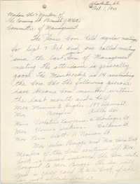 Letter from Ella L. Jones to Committee of Management, Coming Street Y.W.C.A., October 1, 1940