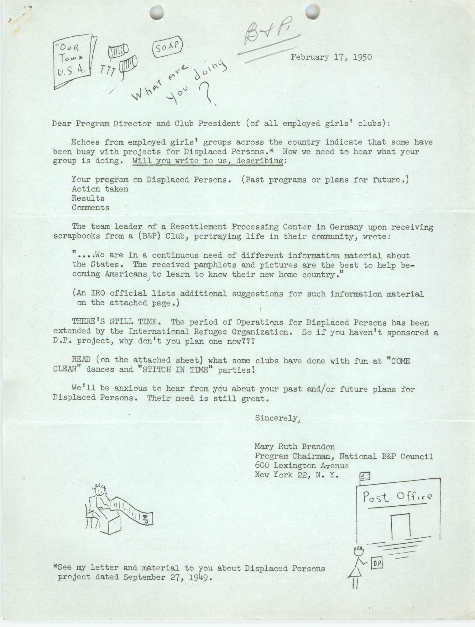 Letter from Mary Ruth Brandon to Program Director and Club President, February 17, 1950