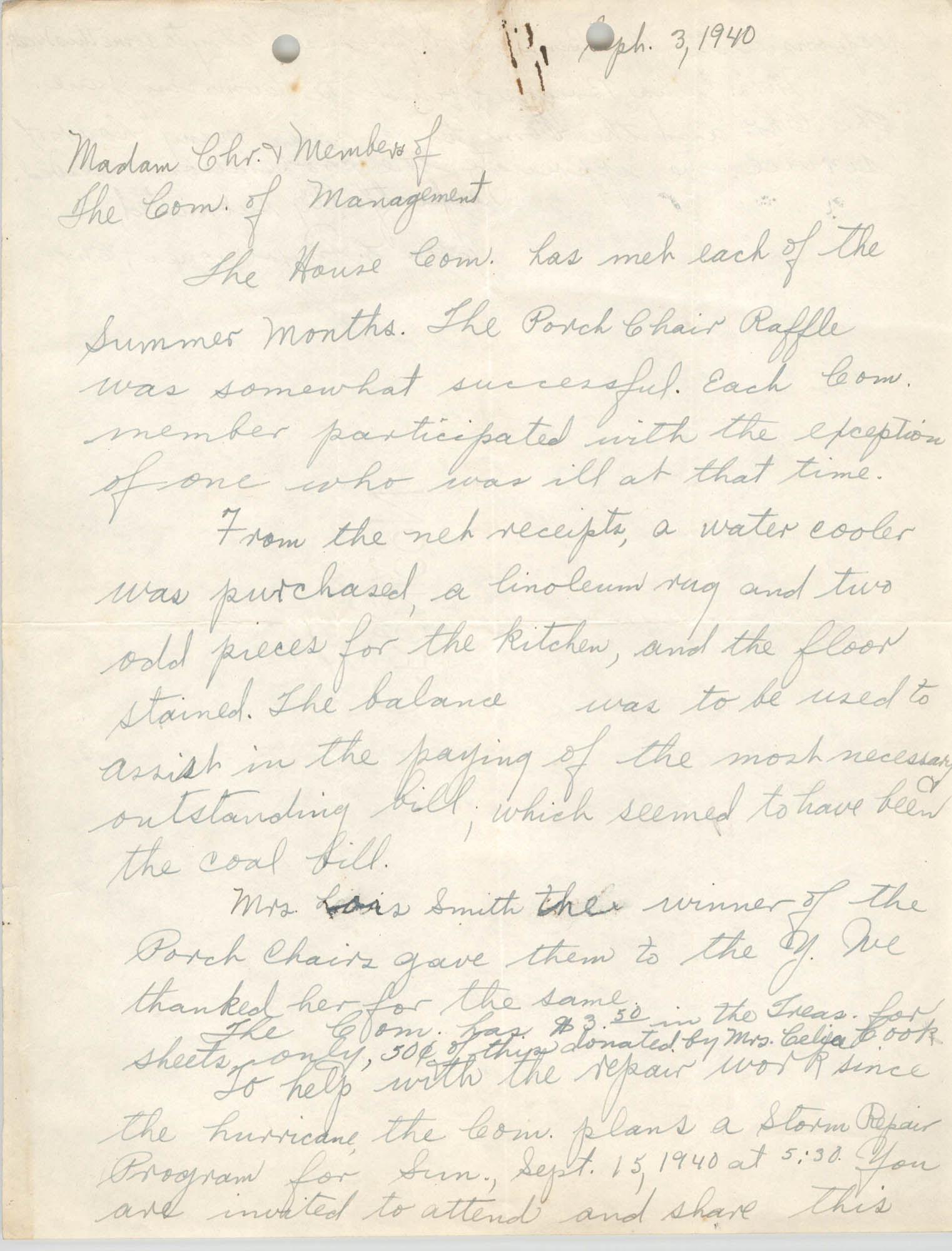 Letter from Ella L. Jones to Committee of Management, Coming Street Y.W.C.A., September 3, 1940